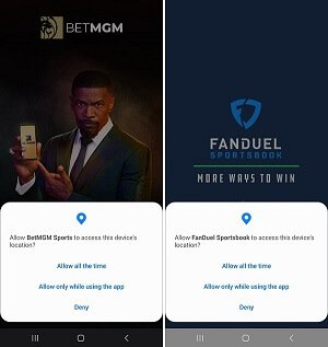 BetMGM sportsbook, FanDuel Sportsbook geolocation